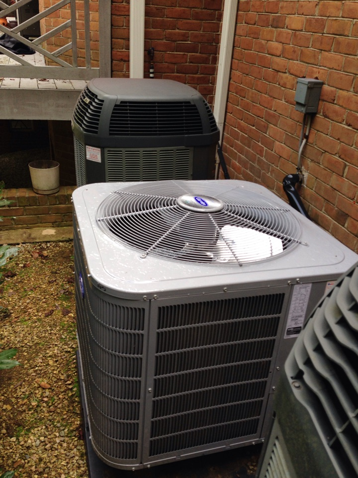 Gambrills, MD - Carrier heat pump heating & air conditioning system replacement installation service call in Gambrills Maryland.