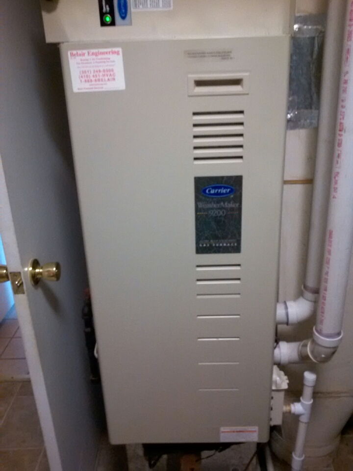 Crofton, MD - Carrier gas furnace heating & air conditioning system maintenance tune up repair service call in Crofton Maryland.