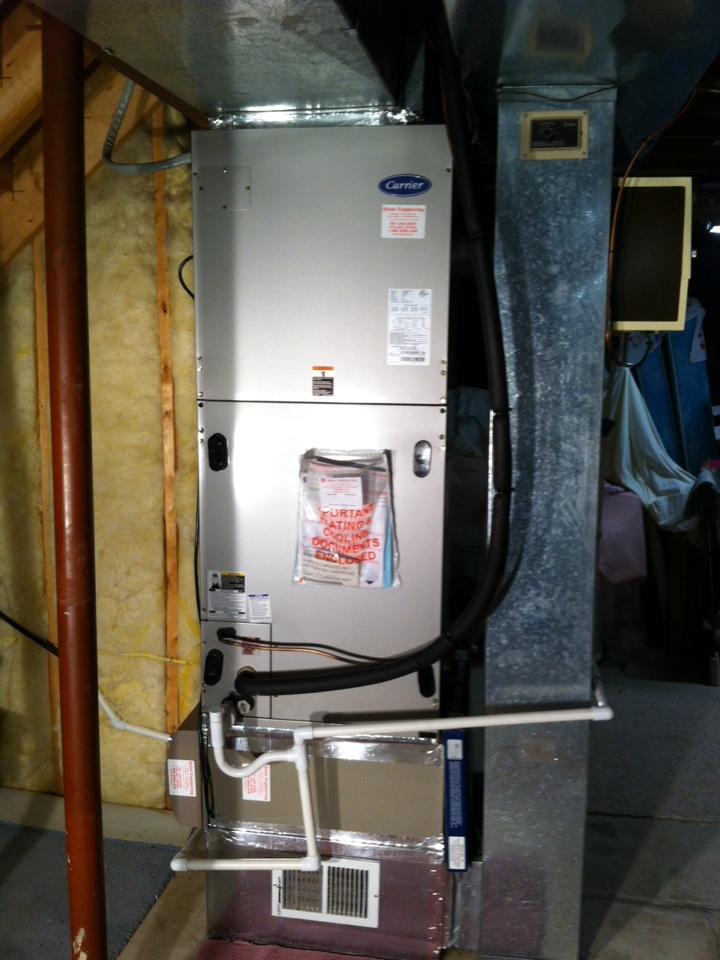 Friendship, MD - Carrier furnace AC heating & air conditioning system installation repair service call in Friendship Maryland.