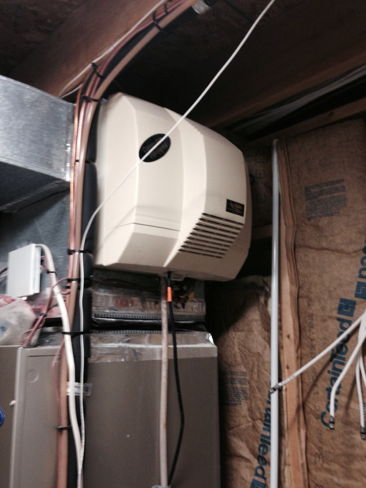 Gambrills, MD - Fan powered furnace humidifier replacement installation service call in Gambrills Maryland.