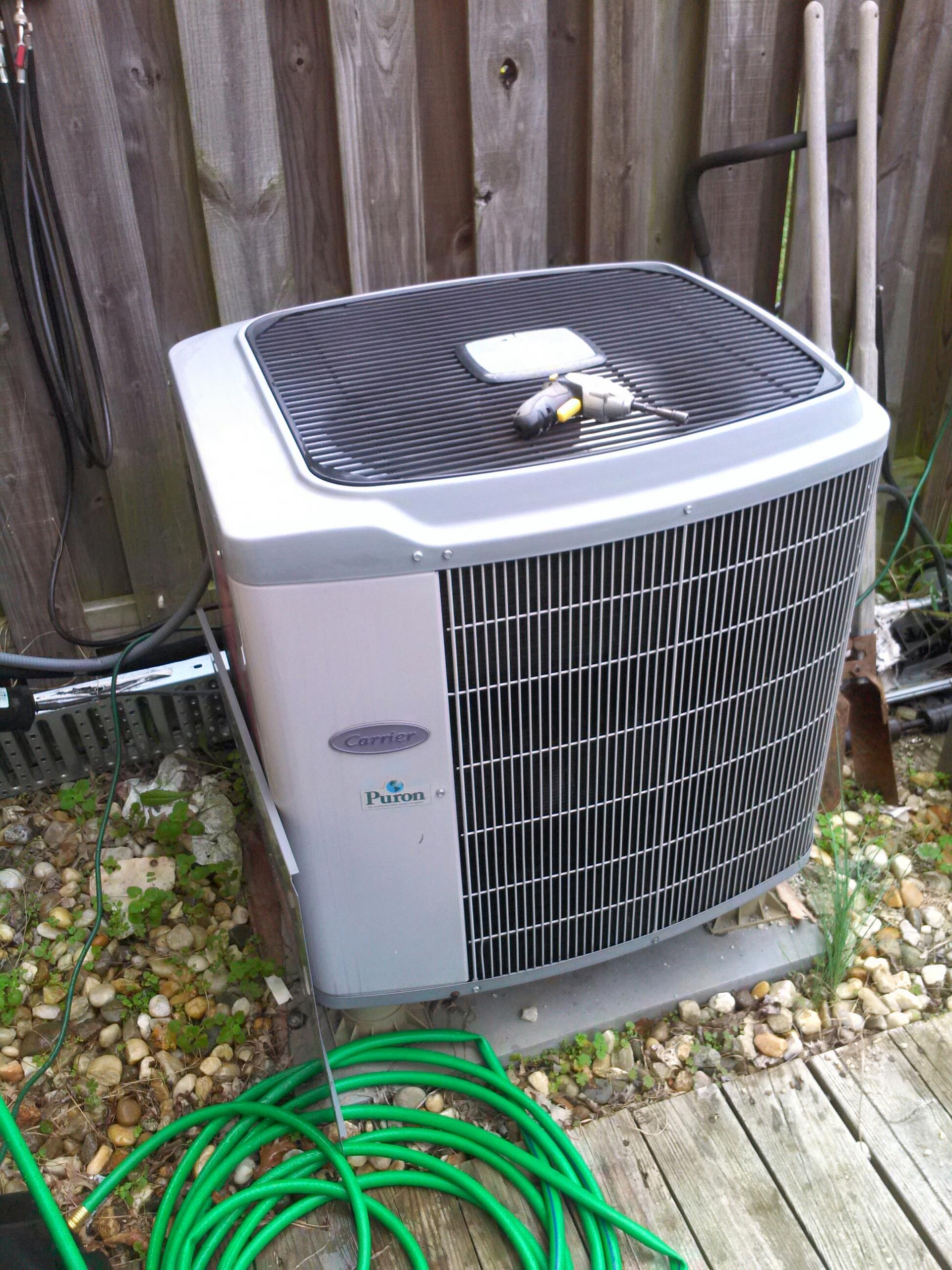 Crofton, MD - Heat pump furnace heating and air conditioning system replacement installation repair service call in Crofton Maryland.