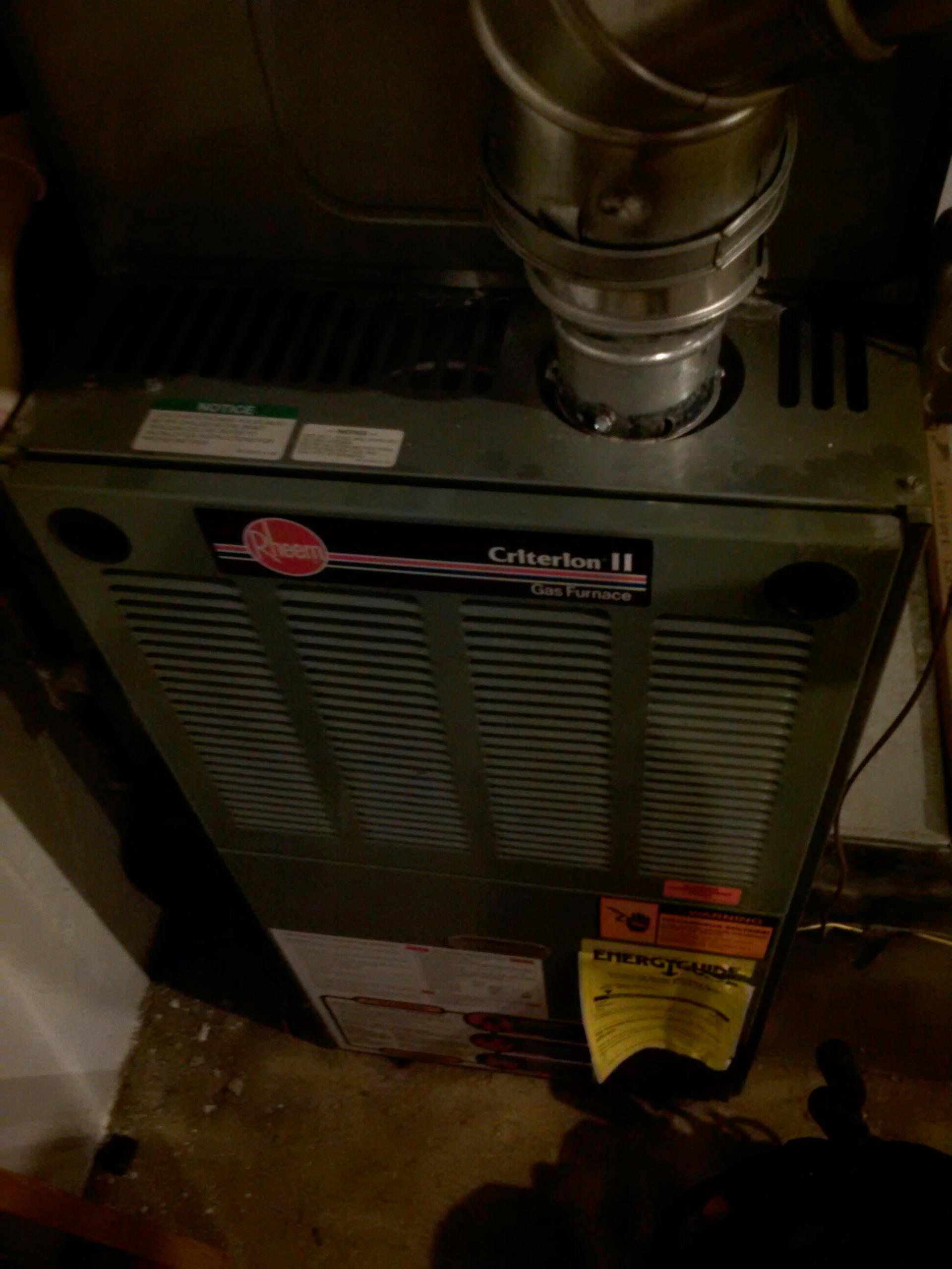Crofton, MD - Rheem gas furnace heating system installation repair service call in Crofton Maryland.