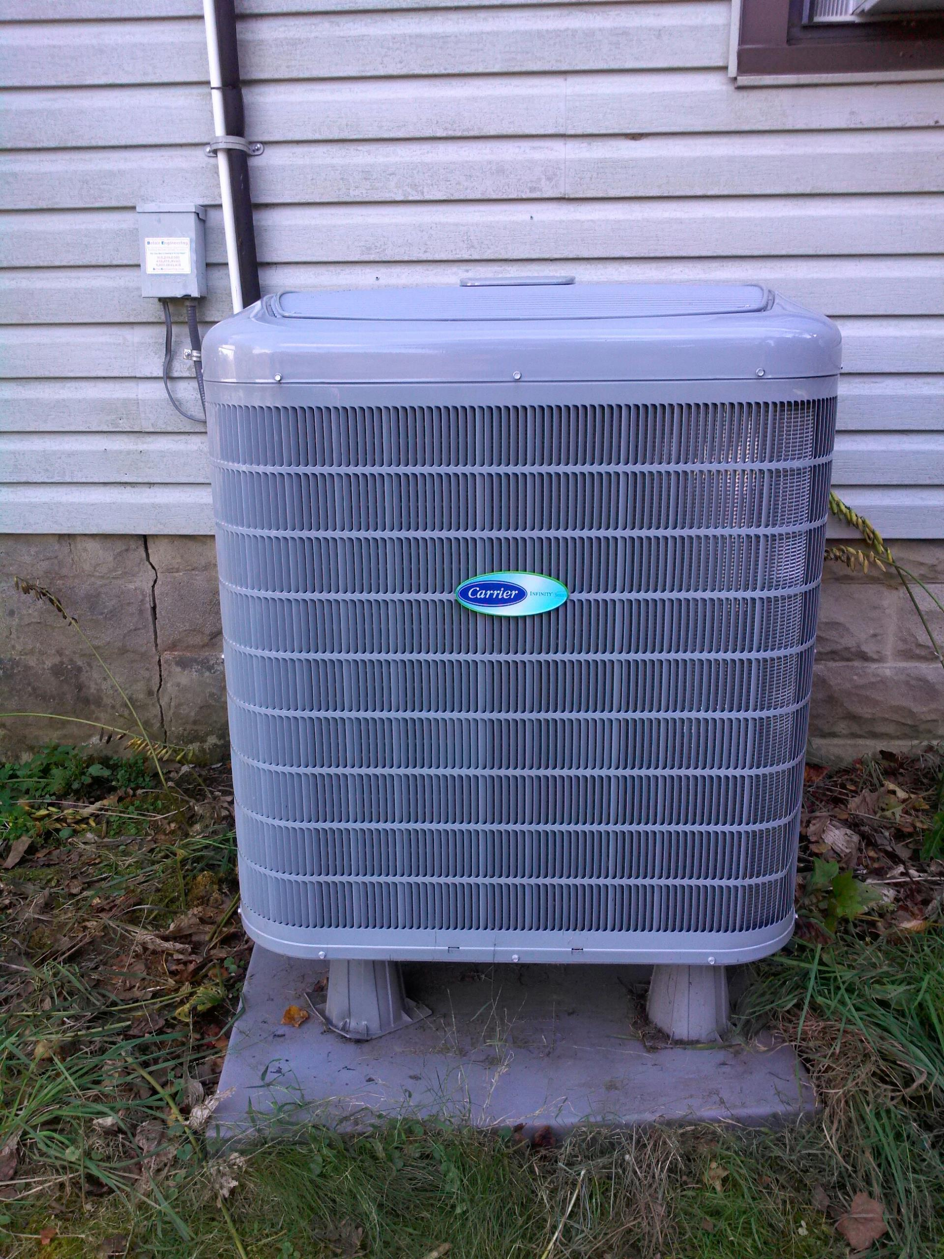 Crownsville, MD - Carrier heat pump furnace heating & air conditioning system replacement installation service call in Crownsville Maryland.