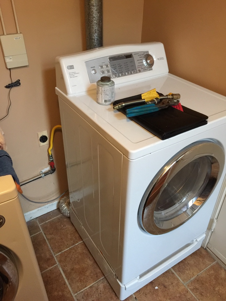 Crofton, MD - Crofton Maryland natural gas clothes dryer to gas piping & supply. Plumbing repair service call.