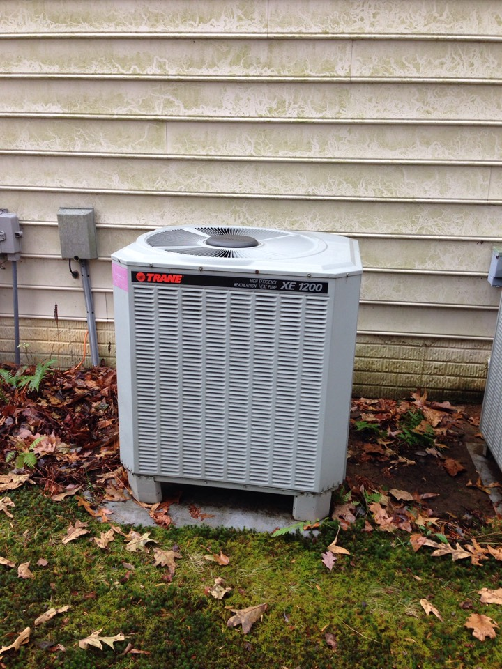 Crownsville, MD - Crownsville Maryland Trane heat pump furnace heating AC system replacement installation service call.