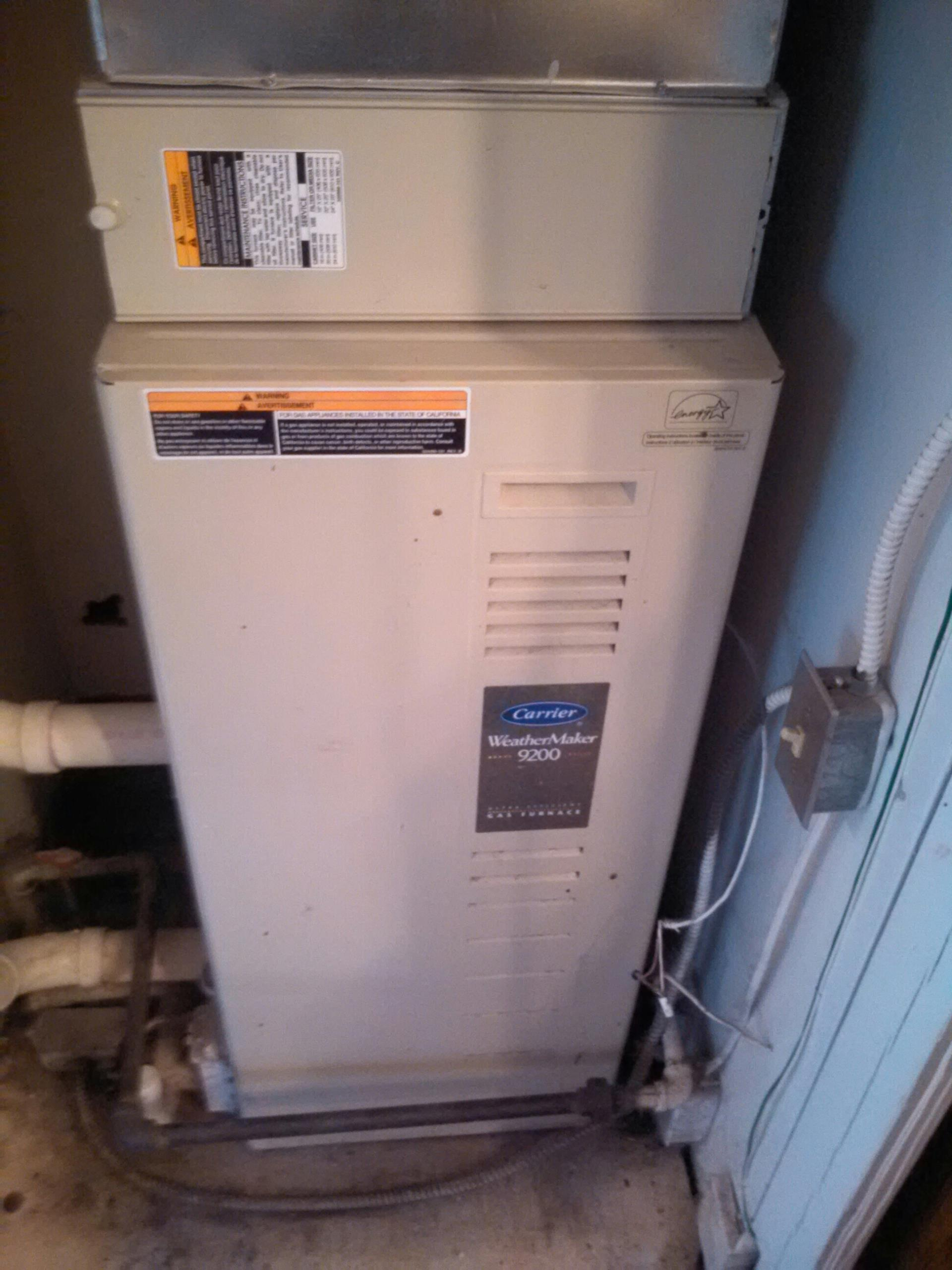 Morningside, MD - Morningside Maryland Carrier gas furnace heating system installation repair service call.