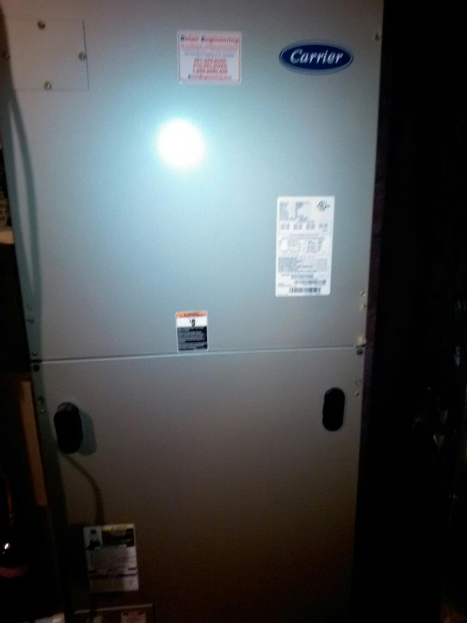Crofton, MD - Carrier heat pump heating & AC system, Pulse humidifier & Aprilaire electronic air cleaner replacement installation service call in Crofton Maryland 21114