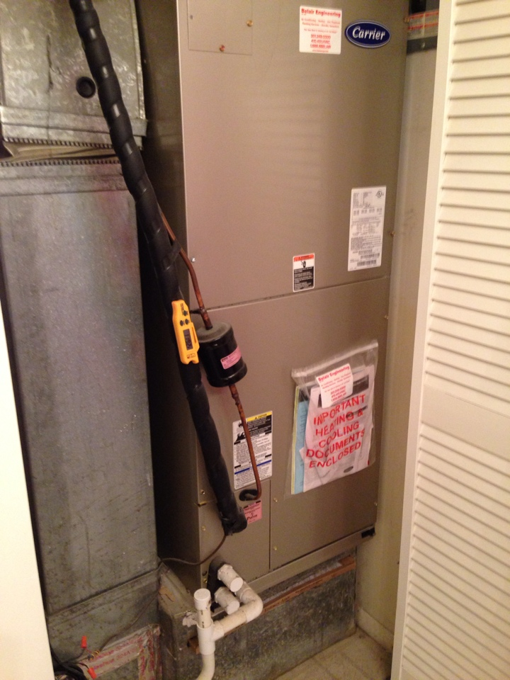 Gambrills, MD - Carrier heat pump furnace heating & air conditioning system installation repair service call in Gambrills Maryland 21054