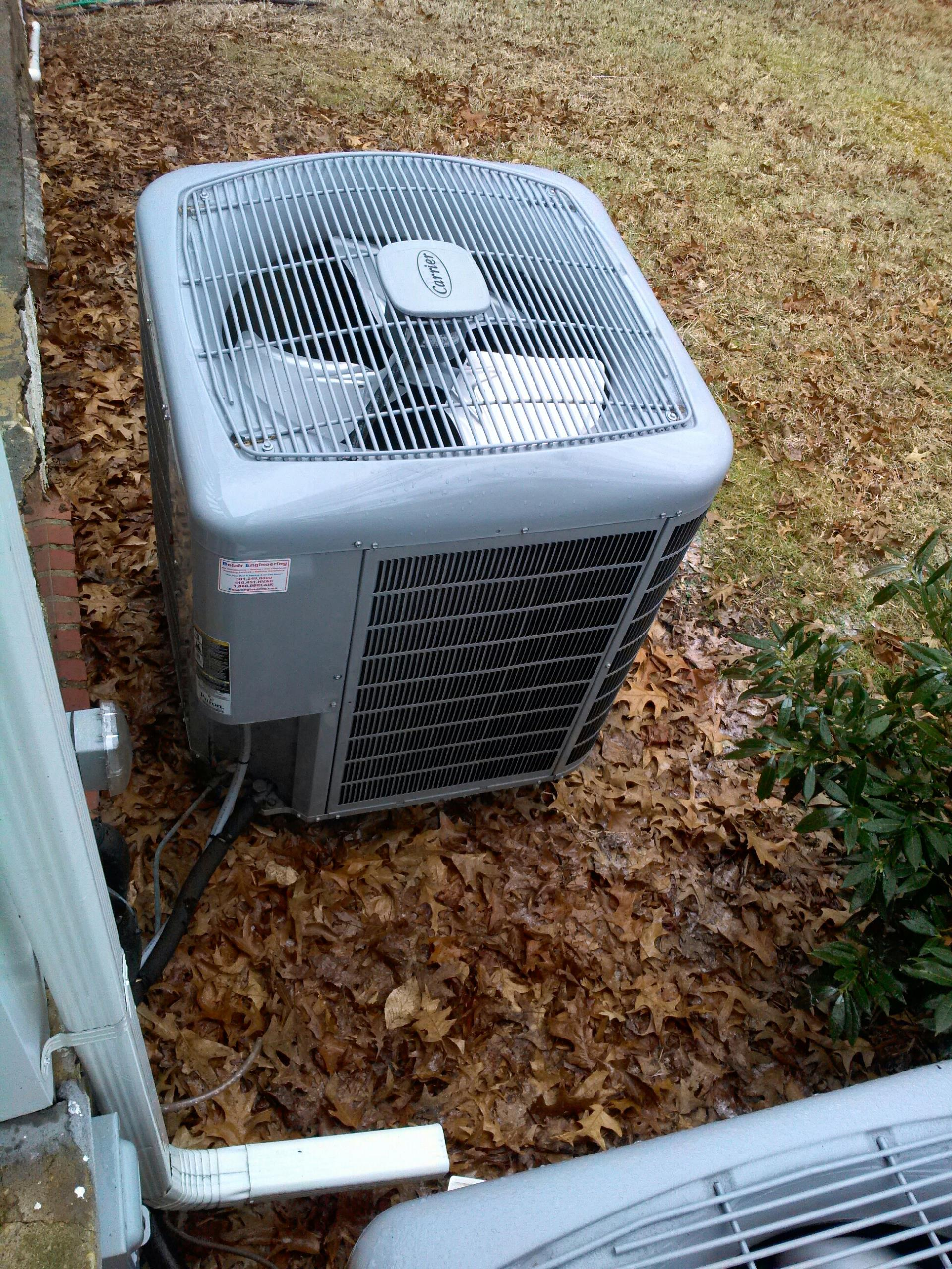 Gambrills, MD - Carrier heat pump furnace heating & AC system, Aprilaire whole house humidifier & Honeywell electronic air cleaner replacement installation service call in Gambrills Maryland 21054