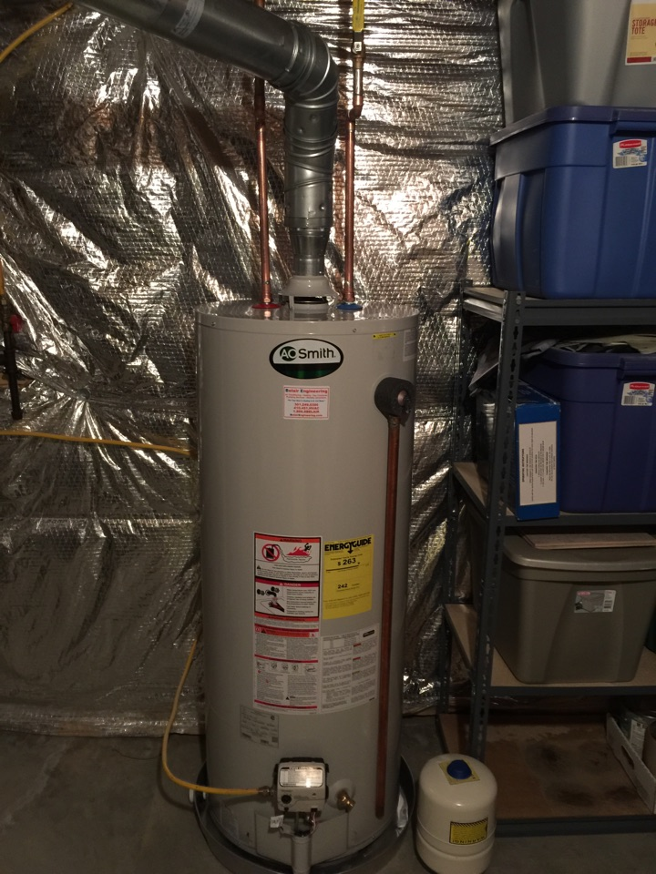 Gambrills, MD - A. O. Smith gas hot water heater replacement installation & plumbing repair service call in Gambrills Maryland 21054
