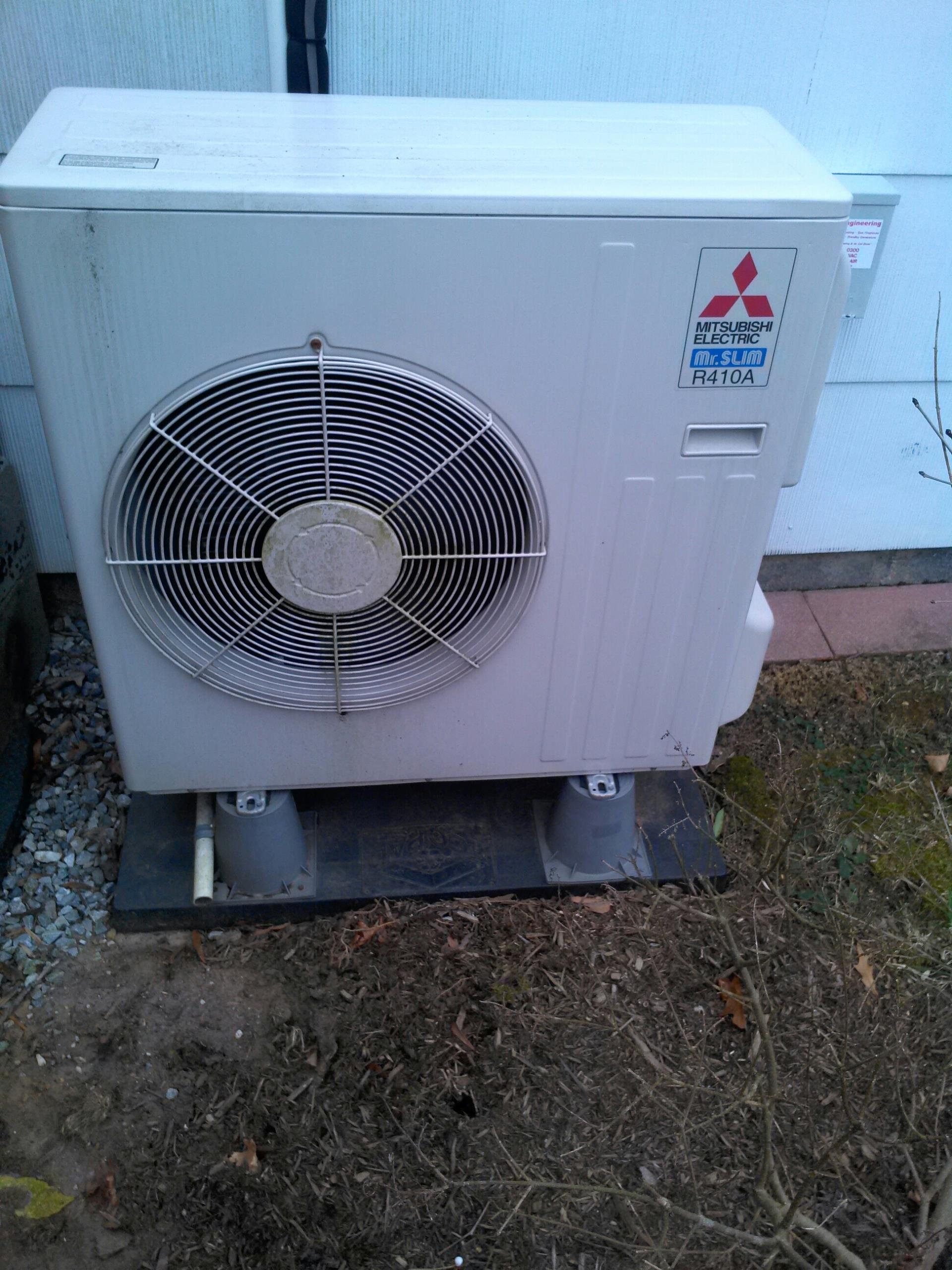Crofton, MD - Mitsubishi Mr. Slim heat pump HVAC heating & AC system installation repair service call in Crofton Maryland 21114