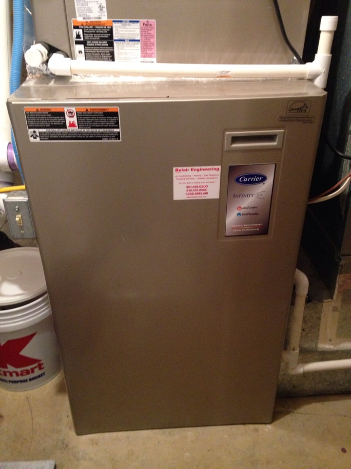 Crofton, MD - Carrier gas furnace heating & air conditioning system, Aprilaire whole house humidifier & electronic air cleaner replacement installation & plumbing repair service call in Crofton Maryland.