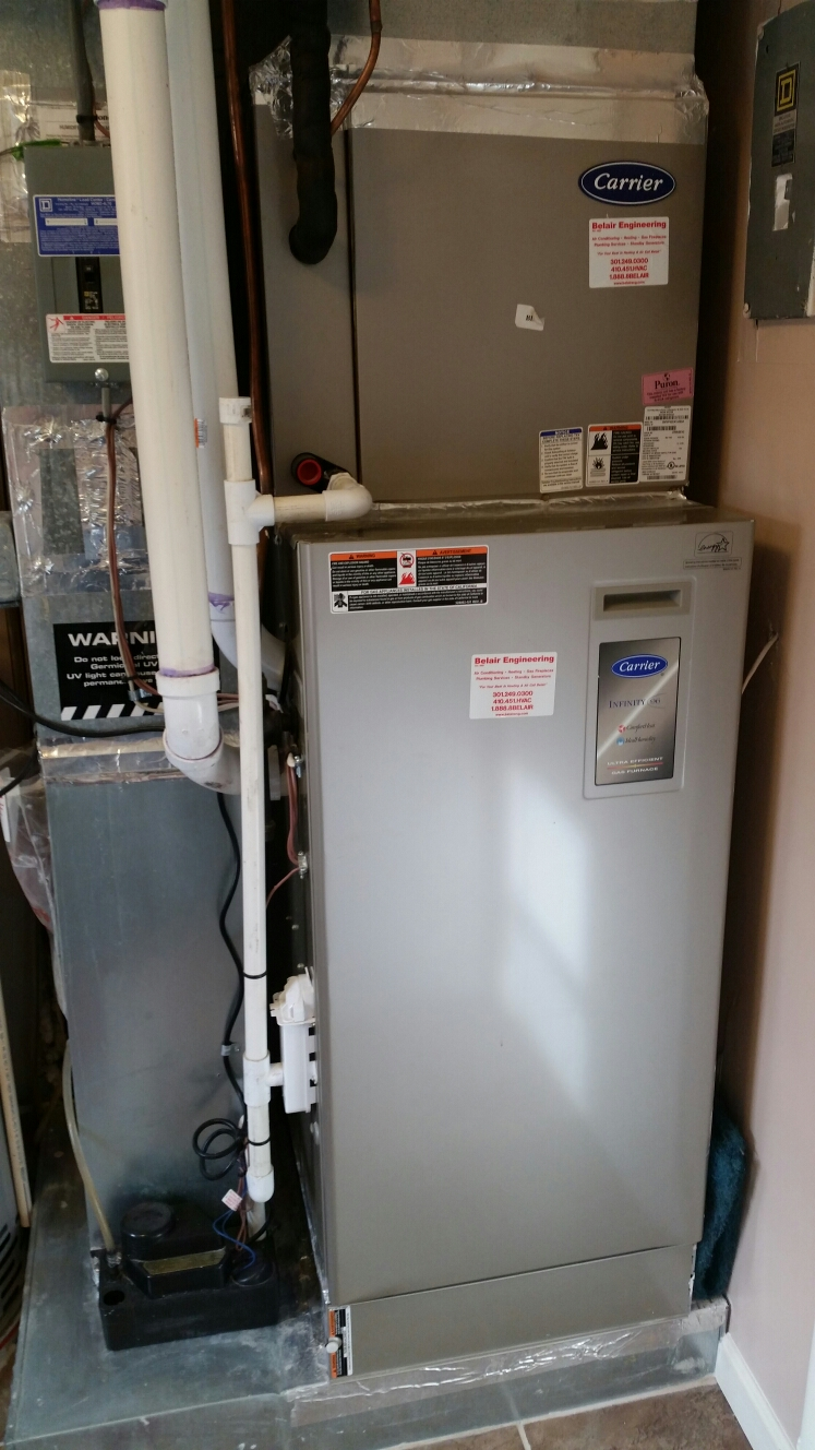 Gambrills, MD - Carrier ac air conditioning & cooling system maintenance repair service call in Gambrills Maryland 21054