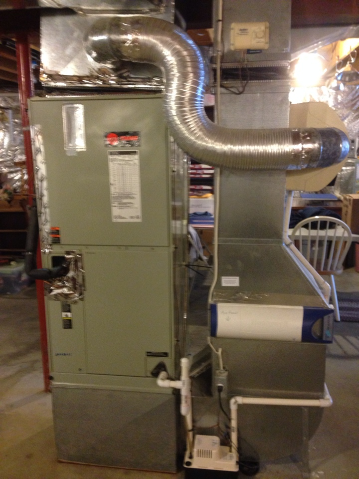 Gambrills, MD - Trane heat pump AC air conditioning & heating system & Clean effects air cleaner replacement installation in Gambrills Maryland 21054