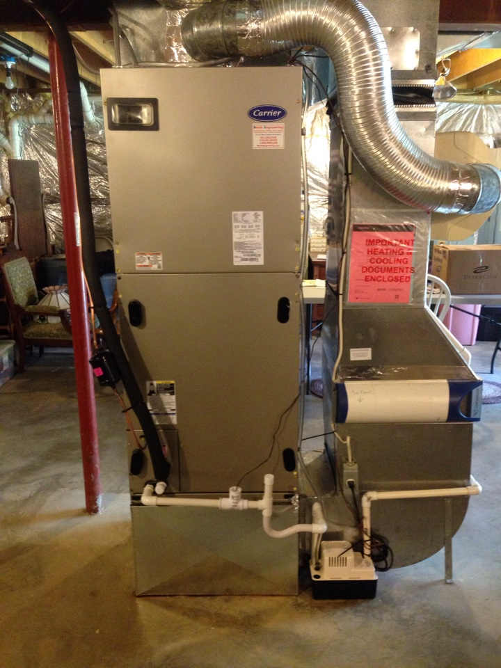 Gambrills, MD - Carrier heat pump AC air conditioning & heating system replacement installation in Gambrills Maryland 21054