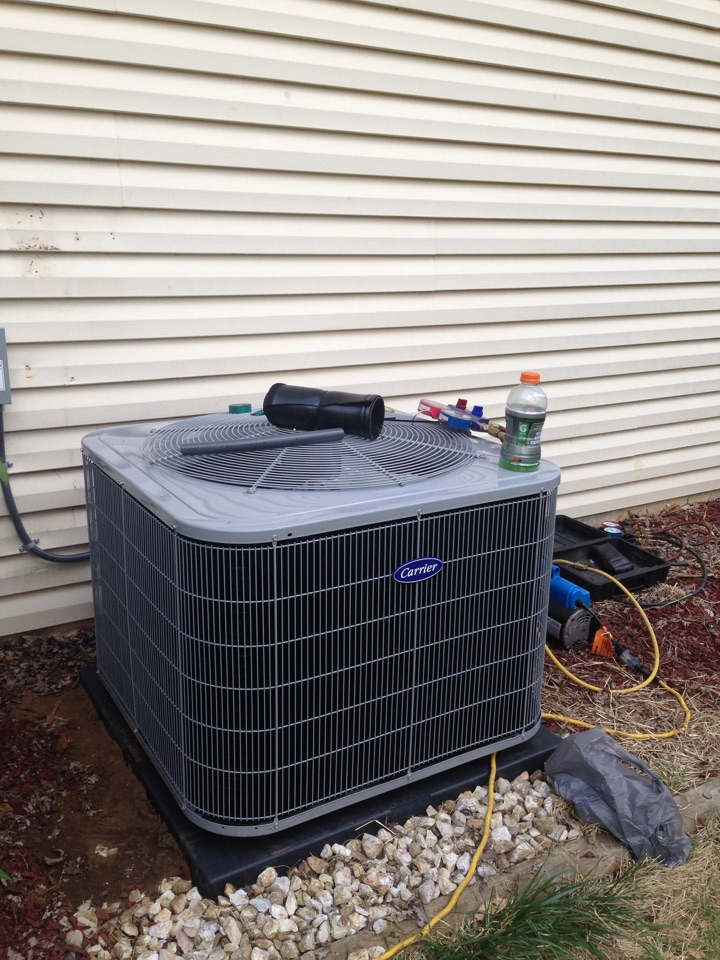 Crofton, MD - Carrier ac air conditioning & heating system & Rheem water heater replacement installation & plumbing repair service call in Crofton Maryland 21114