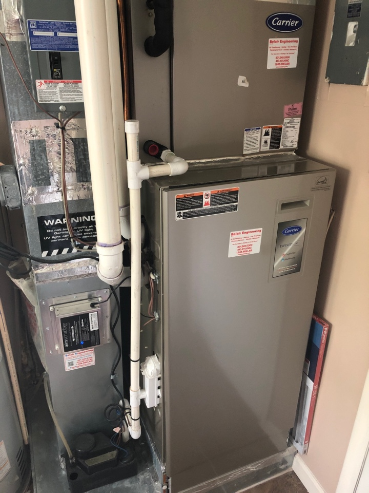 Gambrills, MD - Carrier Infinity Ac repair services with Air Scrubber and condensate pump