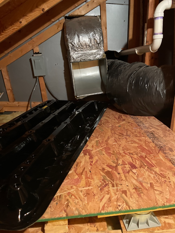 Crownsville, MD - Goodman attic heat pump furnace heating & AC system replacement installation Crownsville Maryland