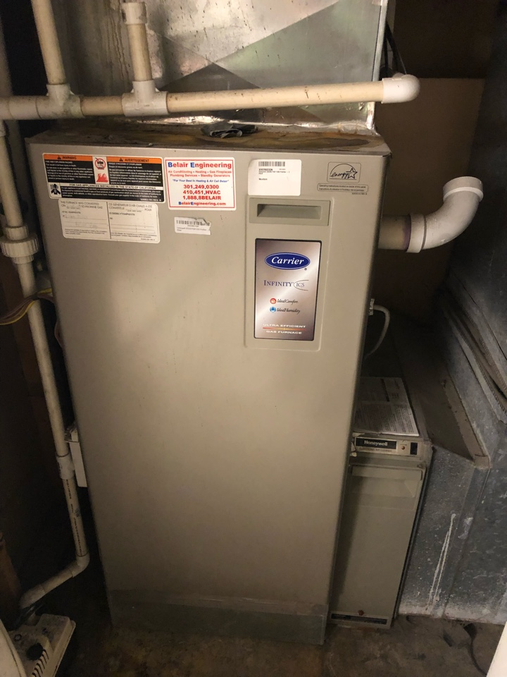 Gambrills, MD - Carrier Infinity gas furnace heating & air conditioning system replacement installation Gambrills Maryland