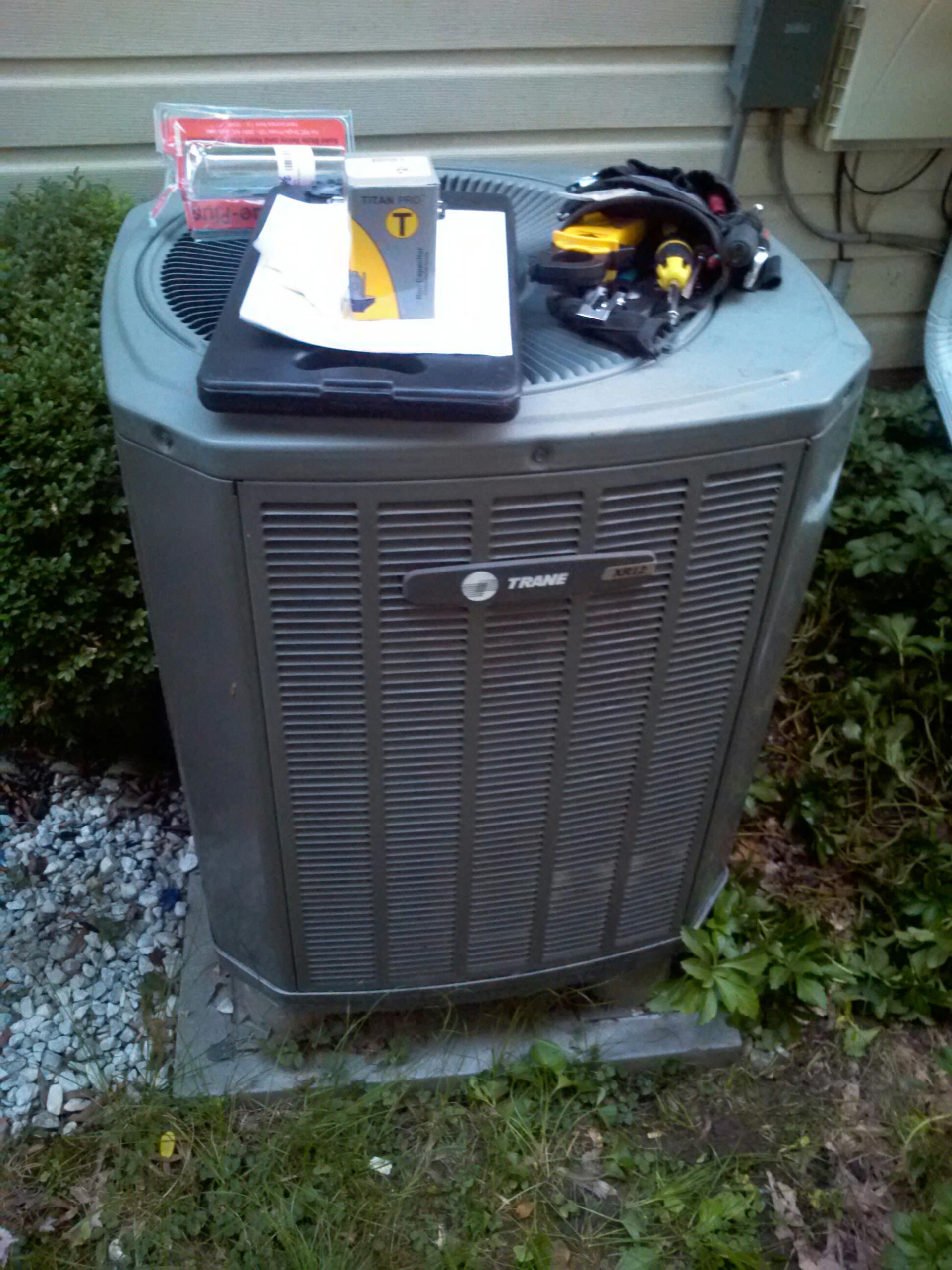Crofton, MD - Trane heat pump heating & air conditioning system installation repair service call in Crofton Maryland 21114