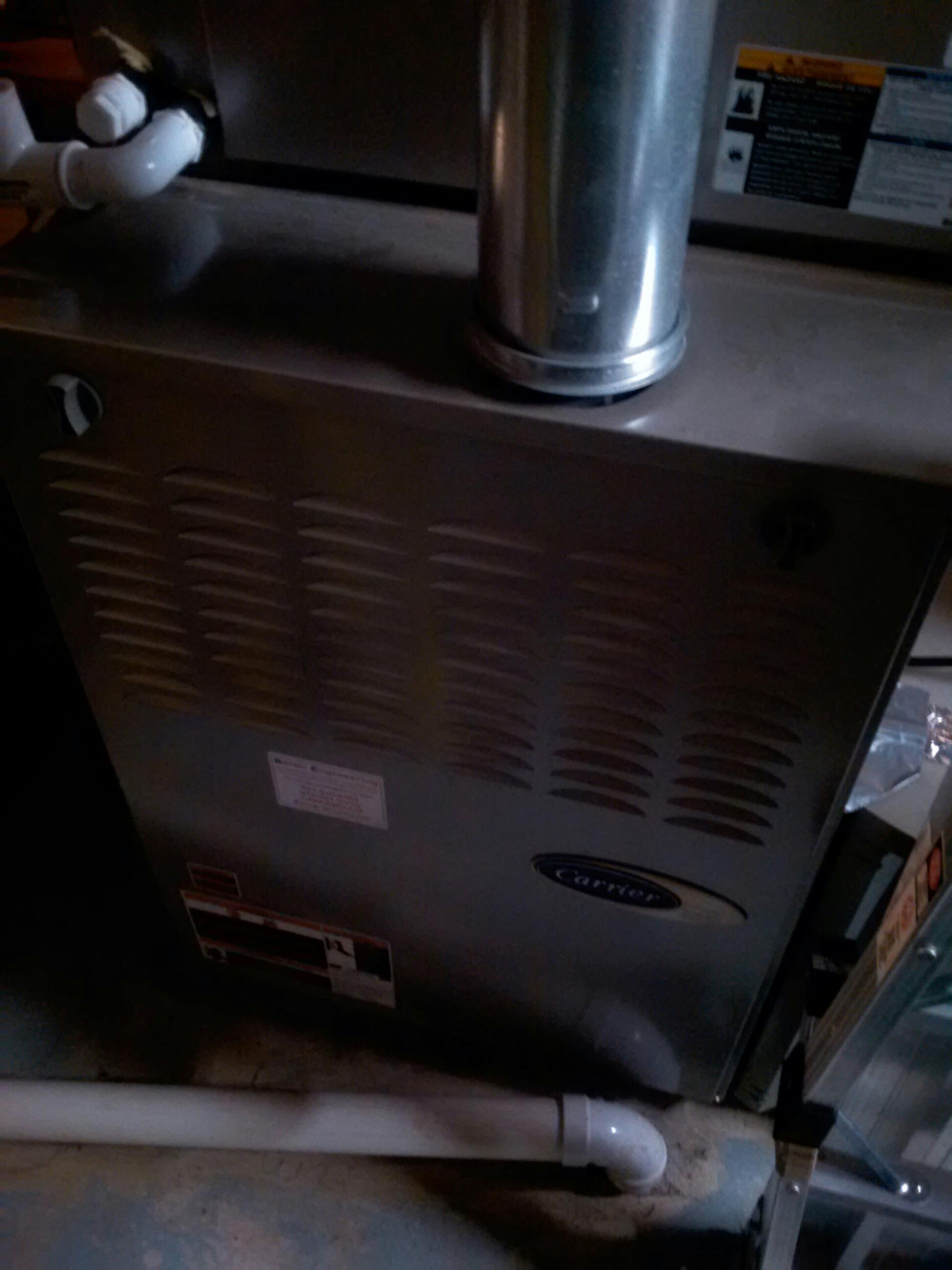 Crownsville, MD -  Carrier gas furnace heating & ac air conditioning system replacement installation service call Crownsville Maryland 21032