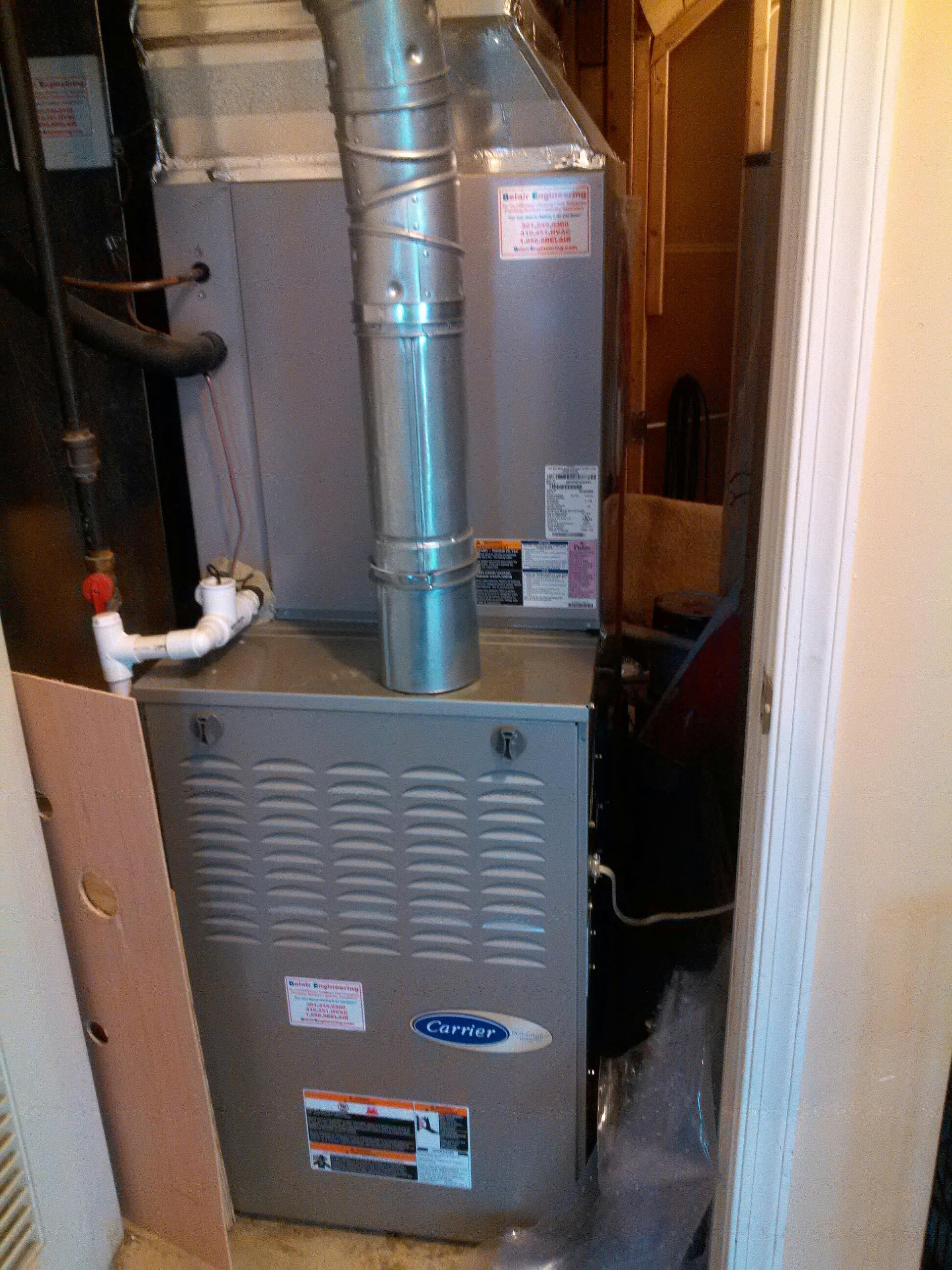 Gambrills, MD - Carrier gas furnace & air conditioning system installation repair service call Gambrills Maryland