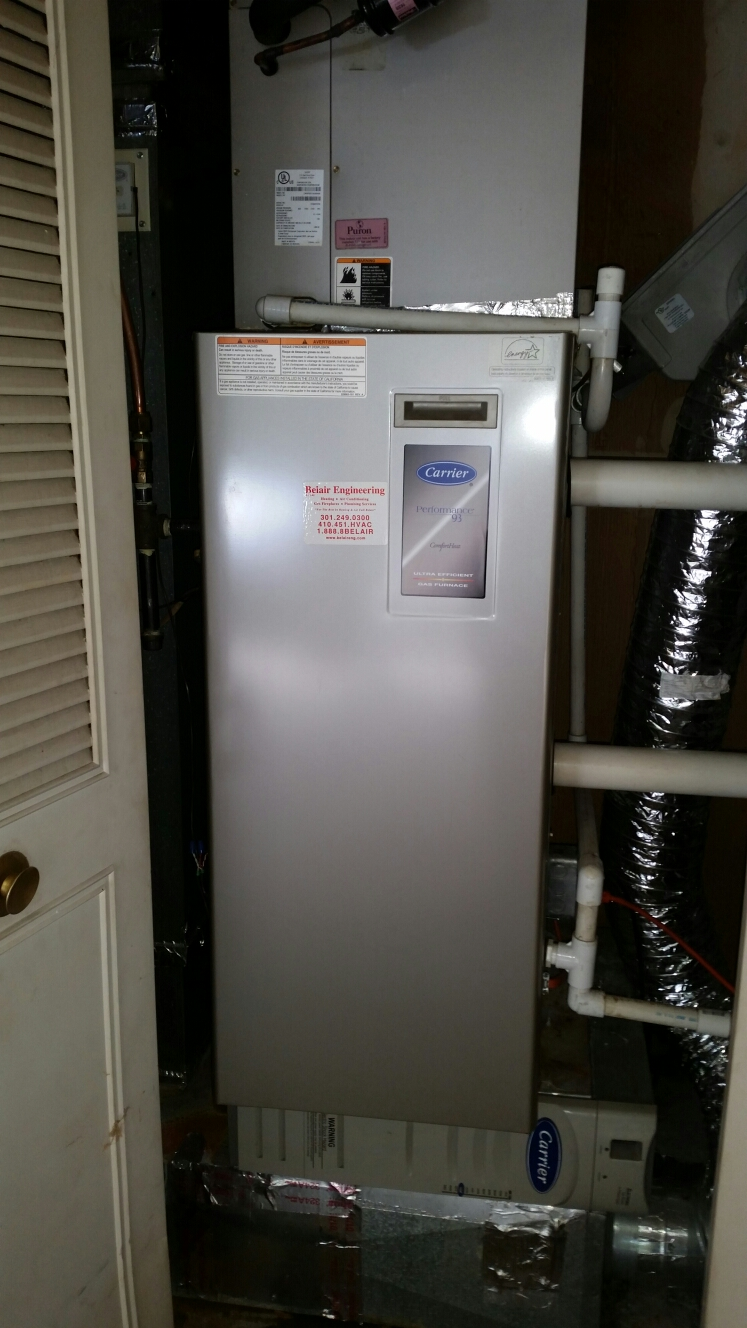 Crofton, MD - Carrier gas furnace heating & air conditioning system replacement installation repair service call Crofton Maryland 21114
