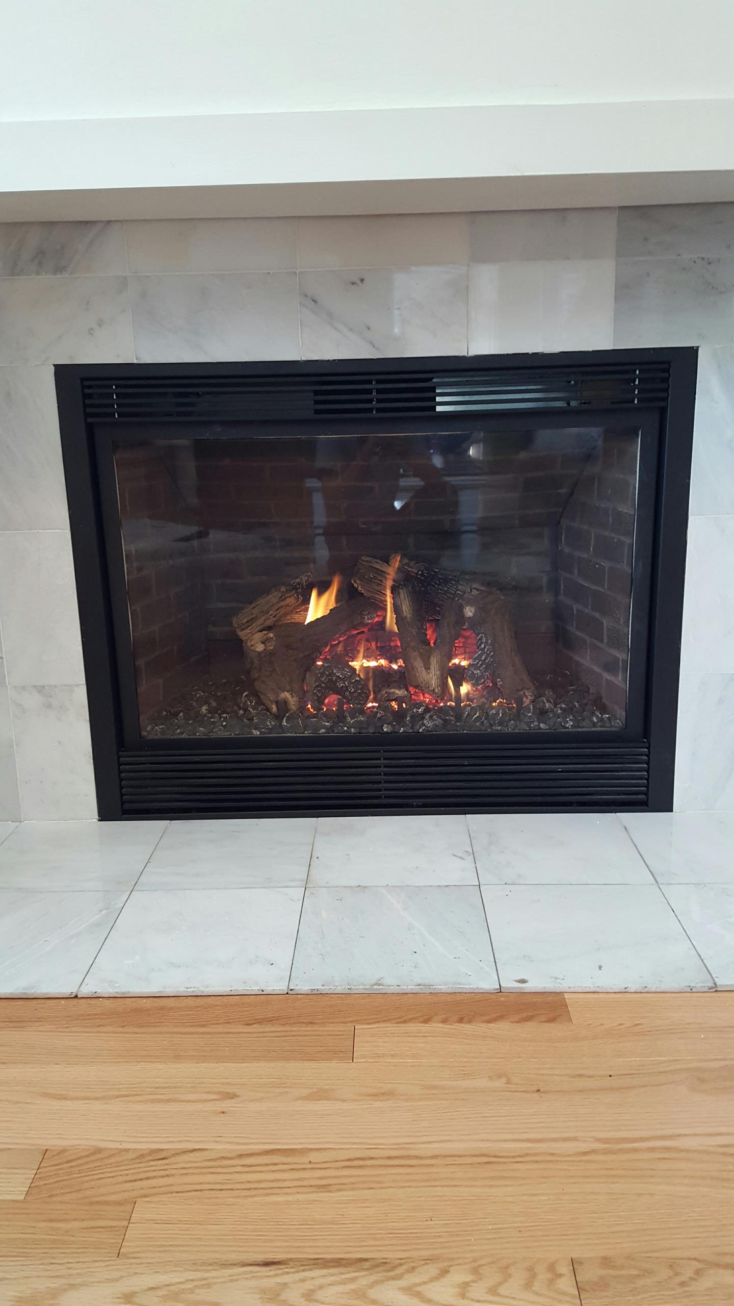 Hanover, MD - Mendota gas fireplace insert & gas logs installation repair service call.