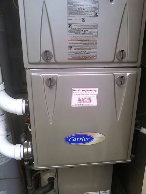 Crofton, MD - Carrier gas furnace heating & air conditioning system repair service call Crofton Maryland