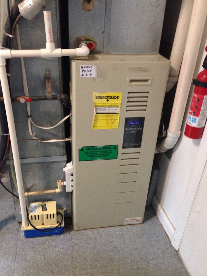 Crofton, MD - Carrier gas furnace heating & air conditioning system replacement installation repair service call in Crofton Maryland