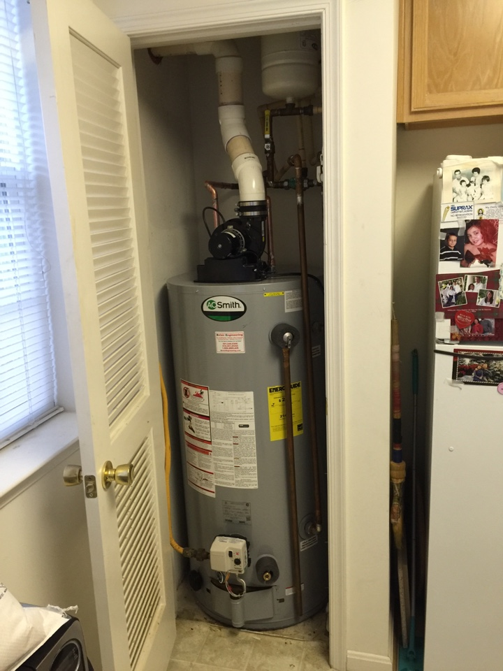 Gambrills, MD - Powervent water heater replacement installation & plumbing repair service call Gambrills Maryland