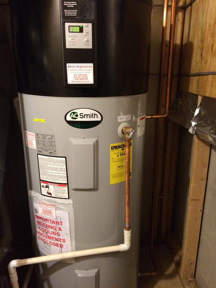 Crofton, MD - Heat pump water heater installation.