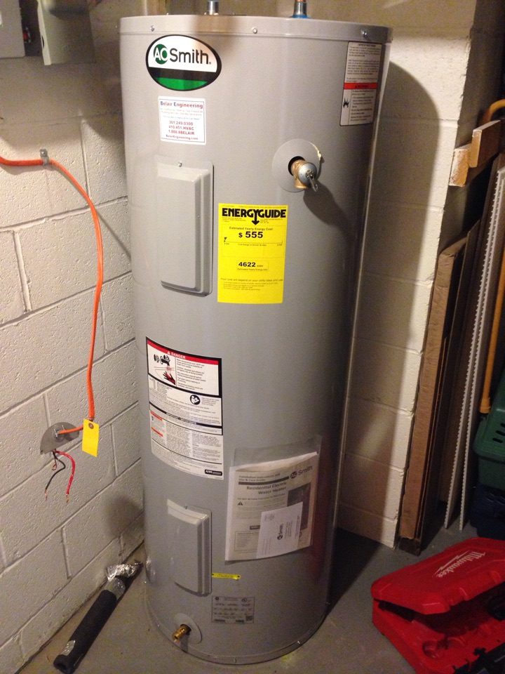 Hanover, MD - Electric water heater replacement installation & plumbing repair service call Hanover Maryland