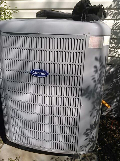 Goddard, MD - Carrier heat pump AC air conditioning & heating system replacement installation service call Goddard Maryland