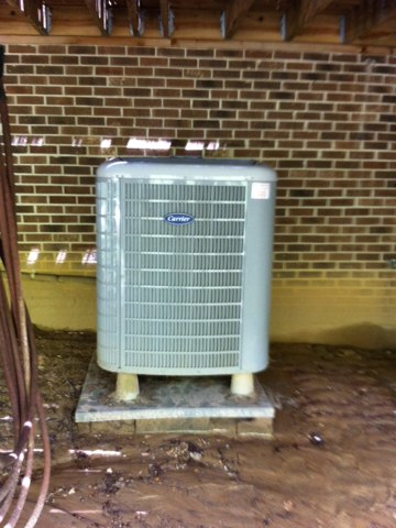 Friendship, MD - Heat pump AC air conditioner heating & air conditioning system installation repair service call in Friendship Maryland.