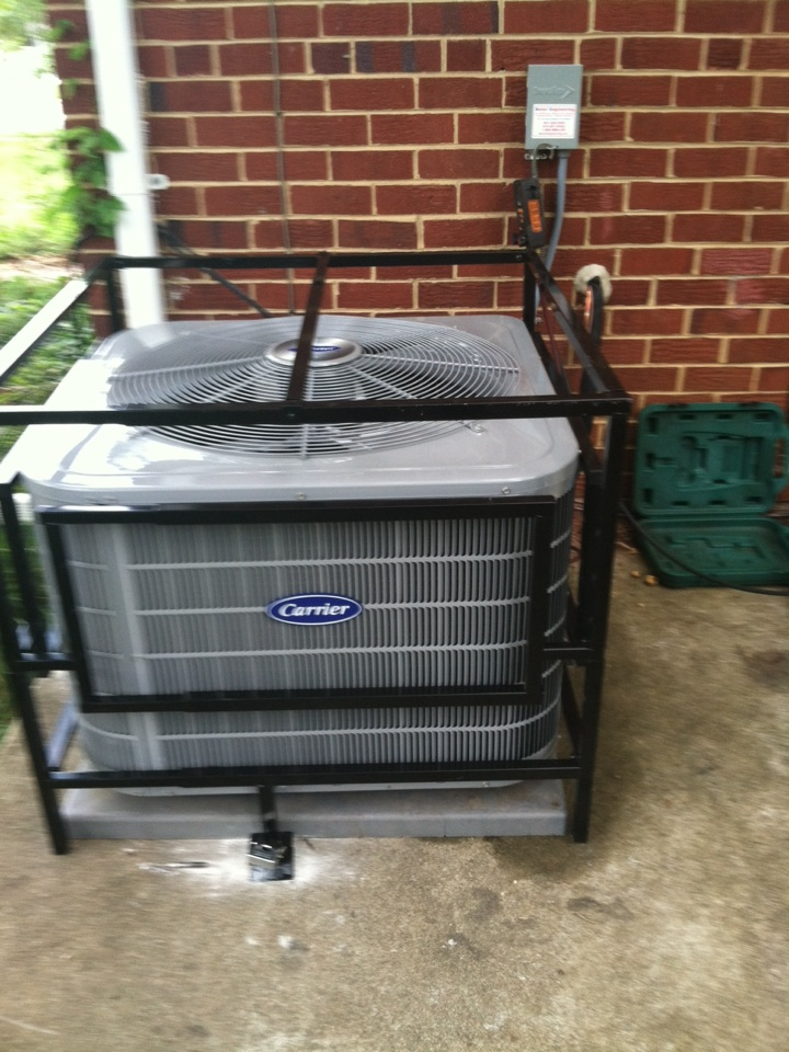 Goddard, MD - AC air conditioner & air conditioning system coil replacement & security cage installation service call in Goddard Maryland.