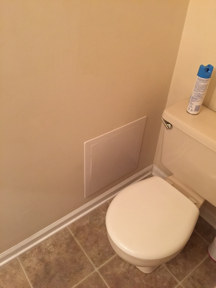 Crofton, MD - Repair to bathtub drain, plumbing service call. Added access panel for future