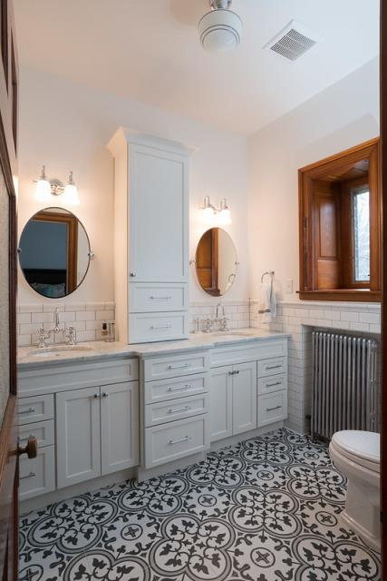 Ambler, PA - This is a whole house historic restoration and remodel in Ambler, PA.  Initially this bathroom started as a closet and was converted into the master bathroom featuring dual vanities and a walk in shower.