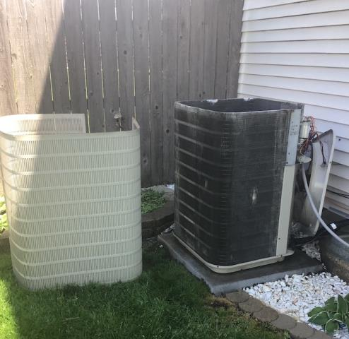 Shorewood, IL - AC maintenance. Clean, adjust and reset AC unit to factory specs to lower utility bills, avoid breakdown and extend equipment life. Washed and cleaned outdoor condenser. Cleaned AC system operating safely.