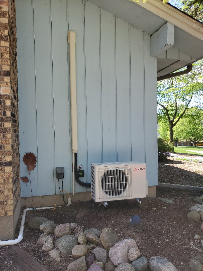 Harvard, IL - Alex's install of a new Mitsubishi ductless mini-split. This is the second unit for this homeowner.