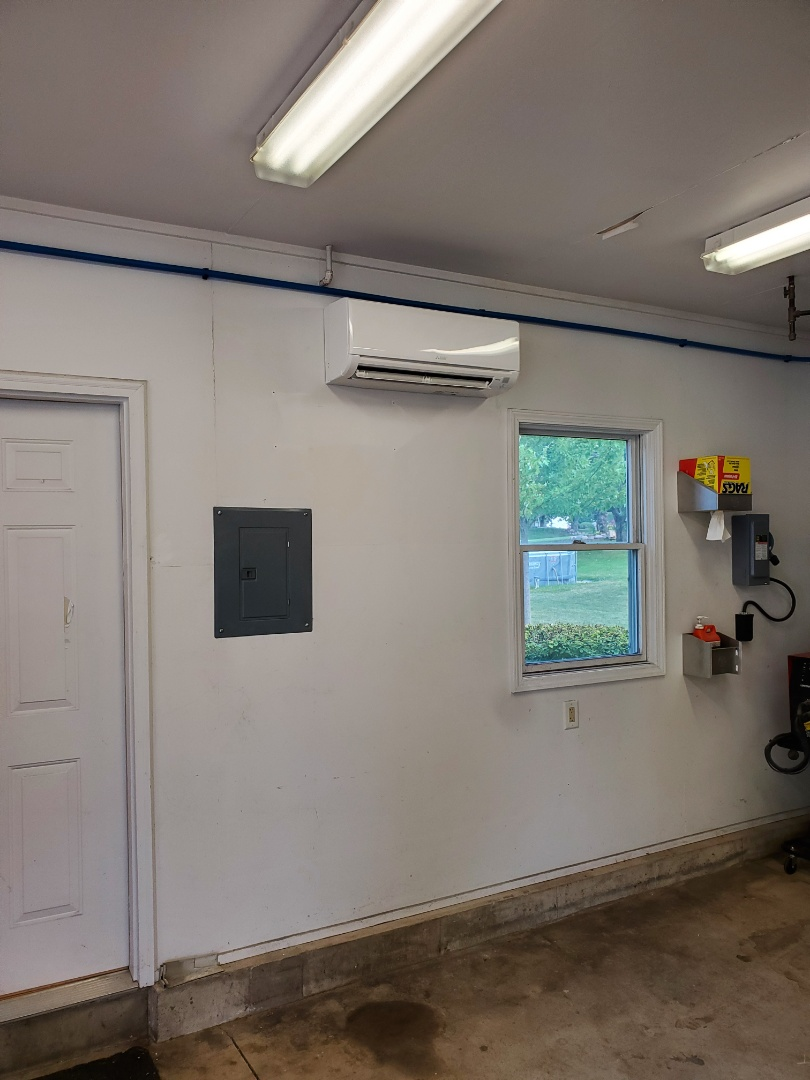 Harvard, IL - Alex's install of a Mitsubishi Heat Pump. With heating and cooling capabilities, this customer's garage will be a comfortable place to work all year long.
