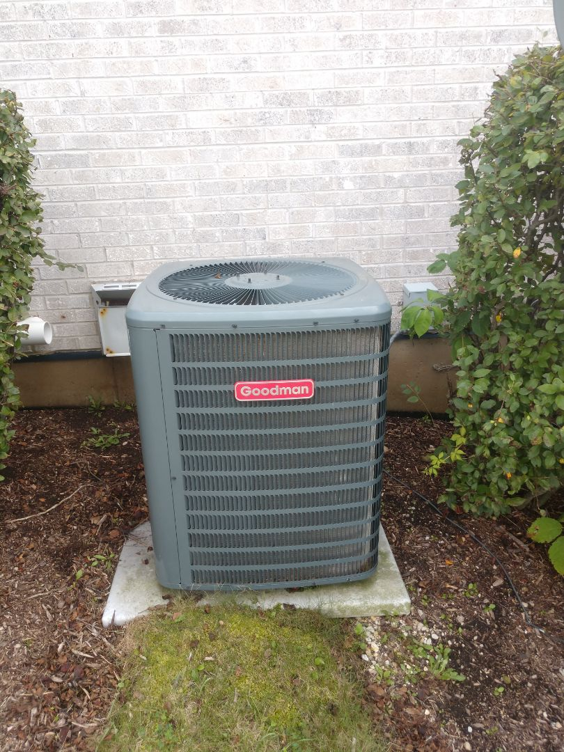 Marengo, IL - JD performed an AC clean and check on this Goodman unit in Marengo.