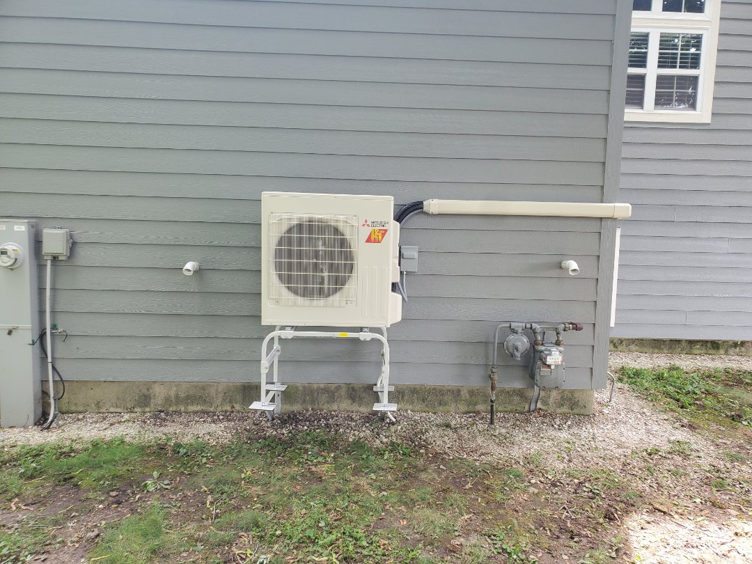 Wonder Lake, IL - Another install of a Mitsubishi hyper heat ductless mini split by Whit and Alex in Wonder Lake. This unit can heat far more efficiently in the cold weather compared to a standard model.