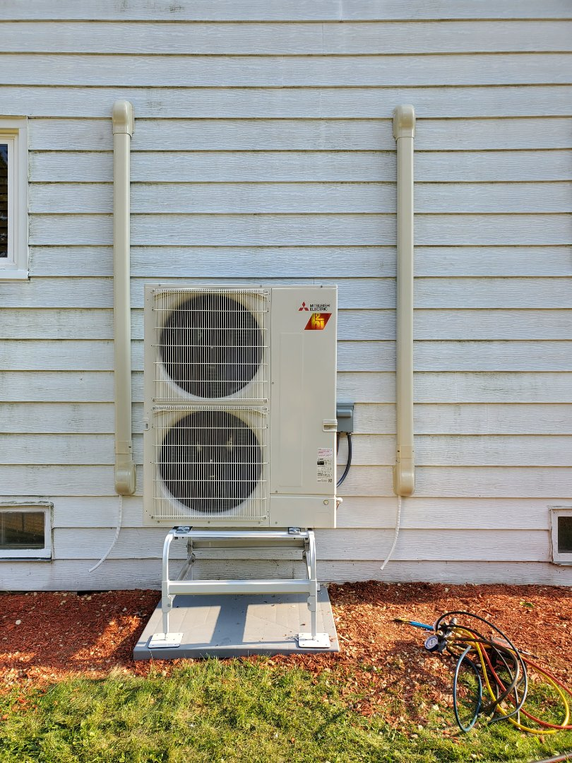 Wonder Lake, IL - Alex's install of a Mitsubishi multizone hyper heat ductless mini split system. This will provide zoned heating and cooling to the problem areas of their home.