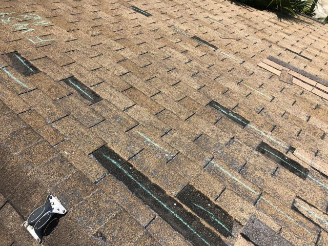 Austin, TX - Years of neglect and severe weather in Central Texas will wreck havoc on a roofing system.  This roof is beyond the end of it's life.  We are in the process of working with the homeowner's insurance company to get a fair claim settlement.  When you are in need of a central Texas roofing company who can work directly with your insurance for storm damage restoration, call RoofCrafters, Inc!