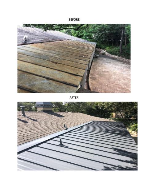 Austin, TX - RoofCrafters is the right choice when you are in need of a roofing company in Austin, Texas. We recently replaced this roof with 2 different materials that tie-in together.  The low-slope metal roof section had been problematic at the tie-in section to the steeper slope shingle roof.  Now it is leak free and looking beautiful.