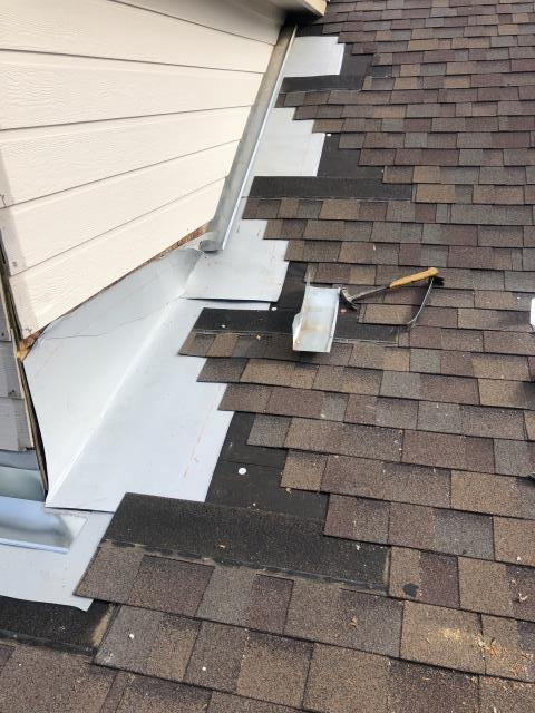 Georgetown, TX - When doing leak repairs, proper diagnosis, attention to detail, and quality materials matter!  We were called to this house for leaks around the dormers, and although things looked OK on the outside, it was discovered that the flashing was not functioning properly during our inspection.  Once we started removing the shingles and siding, there was significant rotted plywood on both the wall and the roof.  We replaced what was rotted, installed high temperature ice and water shield underlayment, and custom made 24ga. metal flashings before completing the shingle repair.  Call RoofCrafters for proper diagnosis and long term leak repair options.