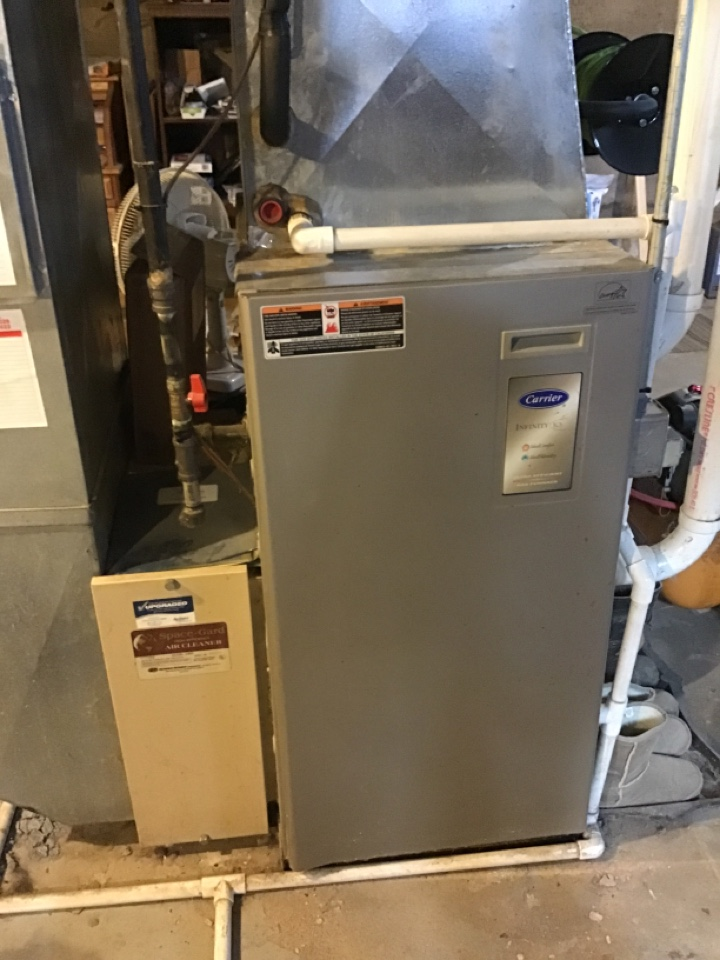 Lena, IL - Here for an annual clean and check for this Carrier furnace, Aprilaire air cleaner and humidifier.