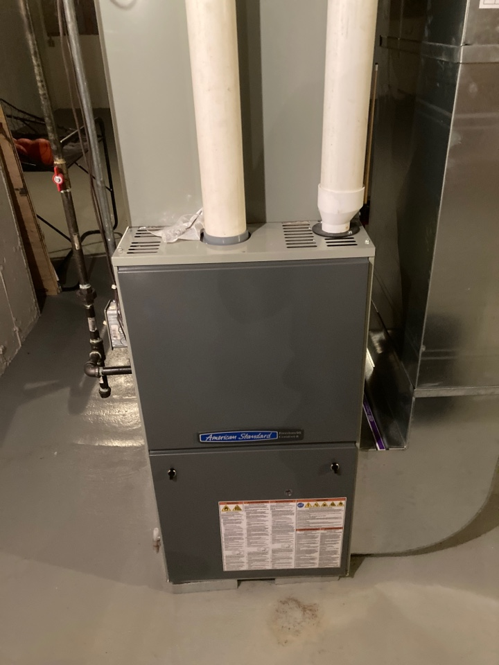 Poplar Grove, IL - Furnace clean and check on an American Standard furnace.
