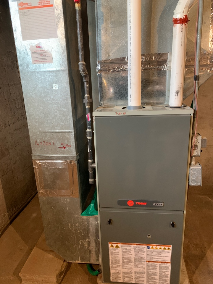 Lena, IL - Here for a furnace clean and check for this Trane furnace.